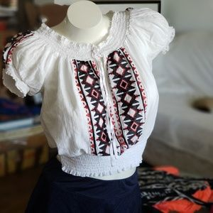 Boho Embroidered Aztec pattern Top by 2b bebe